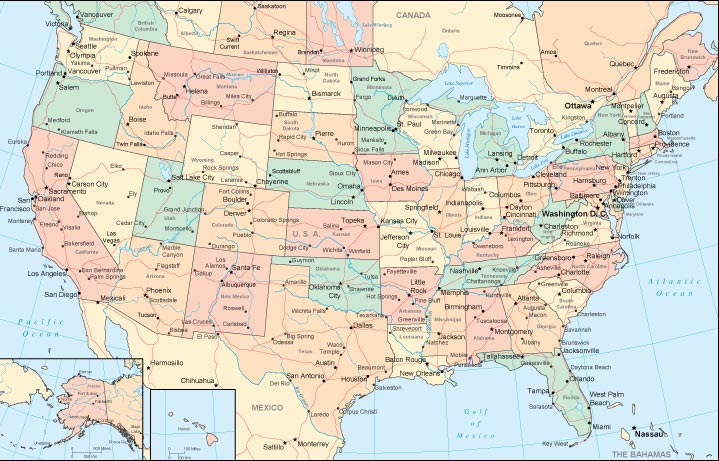 Us Political Wall Map With Highways - Map of us with highways